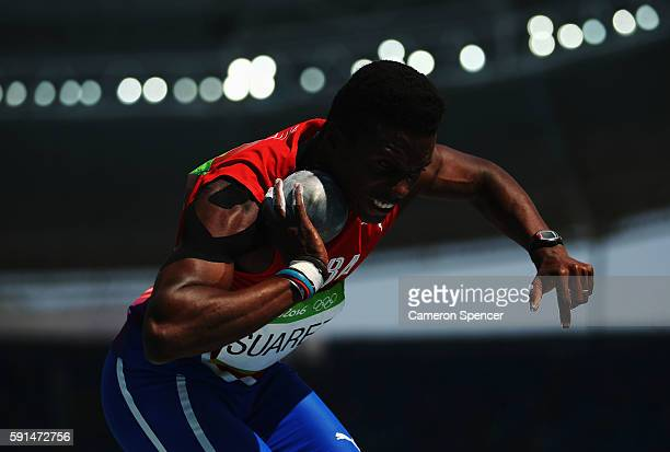 Leonel Suarez of Cuba competes in the Men's Decathlon Shot Put on Day 12 of the Rio 2016 Olympic Games at the Olympic Stadium on August 17 2016 in...