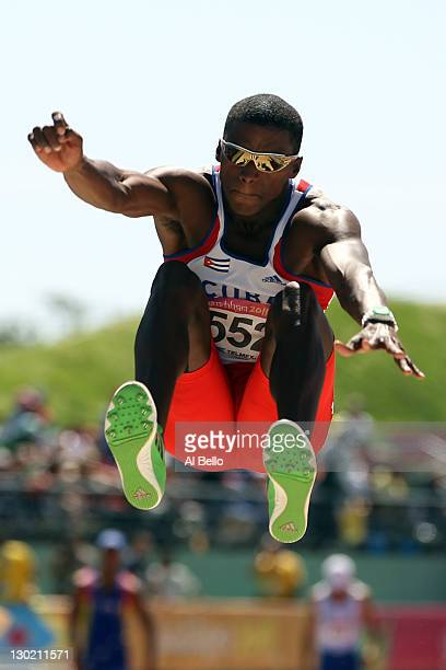 Leonel Suarez of Cuba competes in the men's long jump decathlon during Day 10 of the XVI Pan American Games at Telcel Athletics Stadium on October 24...