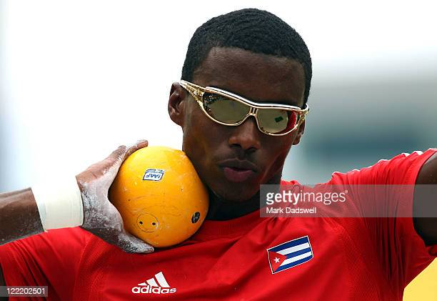 Leonel Suarez of Cuba competes in the shot put in the men's decathlon during day one of the 13th IAAF World Athletics Championships at the Daegu...