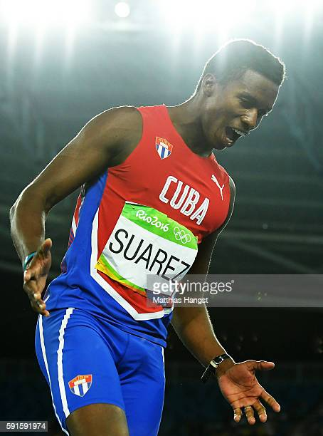 Leonel Suarez of Cuba reacts during the Men's Decathlon High Jump on Day 12 of the Rio 2016 Olympic Games at the Olympic Stadium on August 17 2016 in...