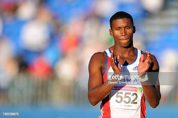 Leonel Suarez of Cuba reacts during the men's high jump decathlon during Day 10 of the XVI Pan American Games at Telcel Athletics Stadium on October...