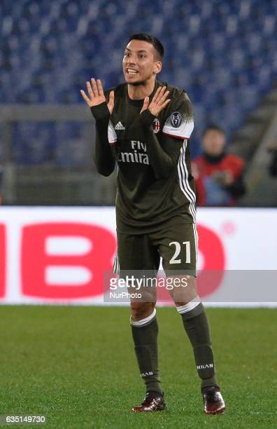 Leonel Vangioni during the Italian Serie A football match between SS Lazio and AC Milan at the Olympic Stadium in Rome on february 13 2017
