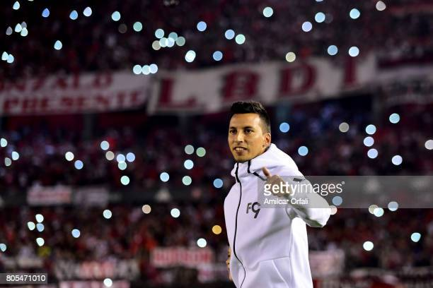 Leonel Vangioni gets in the field prior the Fernando Cavenaghi's farewell match at Monumental Stadium on July 01 2017 in Buenos Aires Argentina