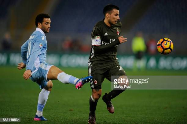 Leonel Vangioni of AC Milan compete for the ball with Felipe Anderson of SS Lazio during the Serie A match between SS Lazio and AC Milan at Stadio...