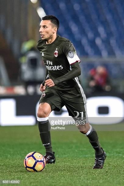 Leonel Vangioni of AC Milan during the Serie A match between Lazio and Milan at Stadio Olimpico Rome Italy on 13 February 2017