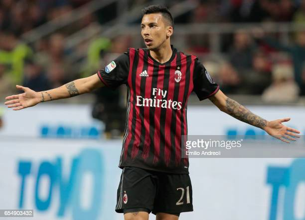 Leonel Vangioni of AC Milan gestures during the Serie A match between AC Milan and Genoa CFC at Stadio Giuseppe Meazza on March 18 2017 in Milan Italy