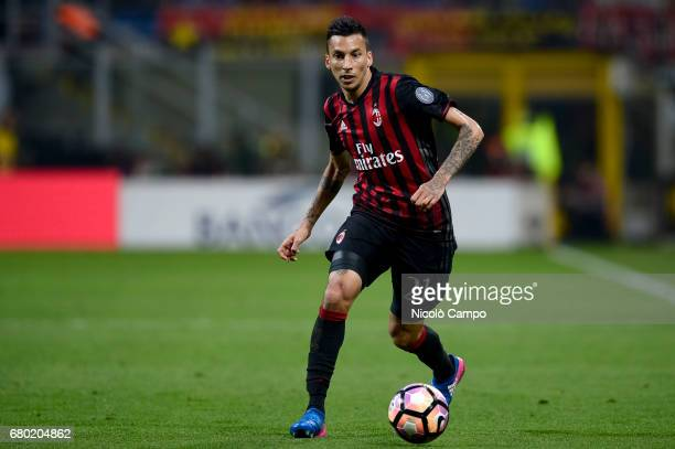 Leonel Vangioni of AC Milan in action during the Serie A football match between AC Milan and AS Roma AS Roma wins 41 over AC Milan