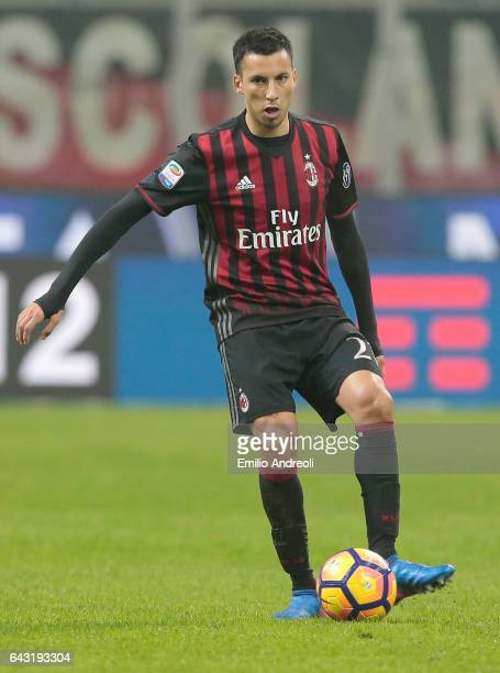 Leonel Vangioni of AC Milan in action during the Serie A match between AC Milan and ACF Fiorentina at Stadio Giuseppe Meazza on February 19 2017 in...