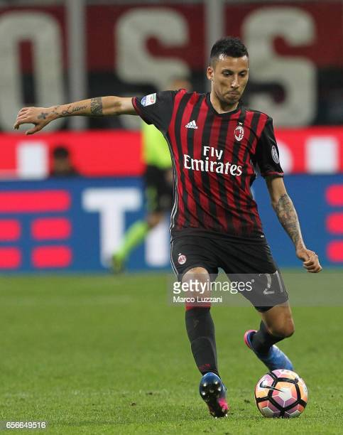 Leonel Vangioni of AC Milan in action during the Serie A match between AC Milan and Genoa CFC at Stadio Giuseppe Meazza on March 18 2017 in Milan...