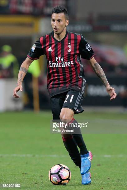 Leonel Vangioni of AC Milan in action during the Serie A match between AC Milan and AS Roma at Stadio Giuseppe Meazza on May 7 2017 in Milan Italy