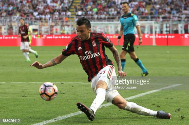 Leonel Vangioni of AC Milan in action during the Serie A match between AC Milan and Bologna FC at Stadio Giuseppe Meazza on May 21 2017 in Milan Italy