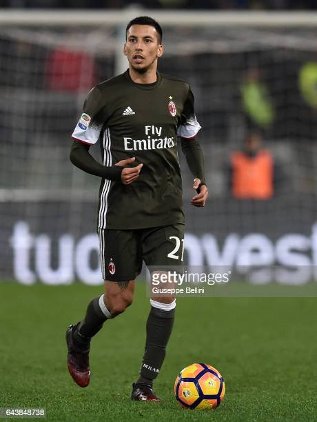 Leonel Vangioni of AC Milan in action during the Serie A match between SS Lazio and AC Milan at Stadio Olimpico on February 13 2017 in Rome Italy
