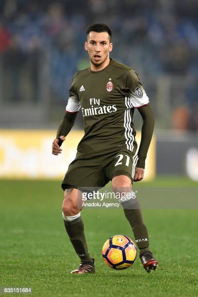 Leonel Vangioni of AC Milan in action during the Serie A soccer match between SS Lazio and AC Milan at Stadio Olimpico in Rome Italy on February 13...