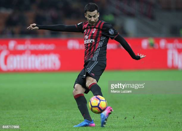 Leonel Vangioni of AC Milan kicks a ball during the Serie A match between AC Milan and AC ChievoVerona at Stadio Giuseppe Meazza on March 4 2017 in...