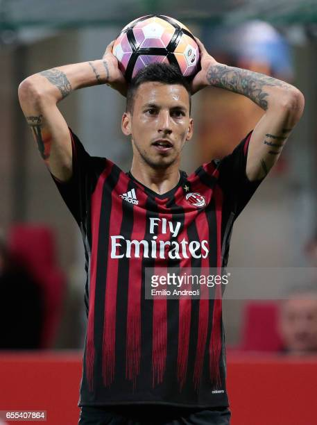 Leonel Vangioni of AC Milan looks on during the Serie A match between AC Milan and Genoa CFC at Stadio Giuseppe Meazza on March 18 2017 in Milan Italy