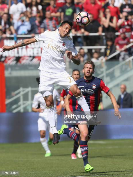 Leonel Vangioni of Milan during the Serie A match between FC Crotone and AC Milan at Stadio Comunale Ezio Scida on April 30 2017 in Crotone Italy