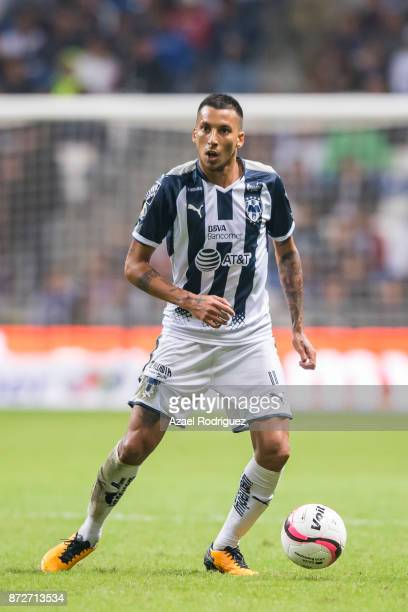 Leonel Vangioni of Monterrey drives the ball during the 11th round match between Monterrey and Santos Laguna as part of the Torneo Apertura 2017 Liga...