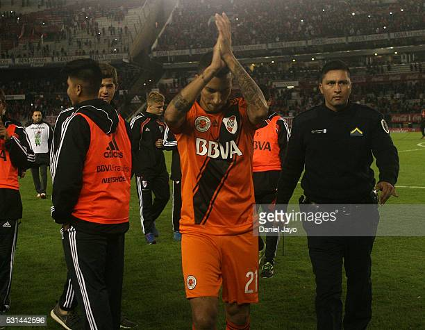 Leonel Vangioni of River Plate greets fans at the end of a match between River Plate and Gimnasia y Esgrima La Plata as part of Torneo Transicion...