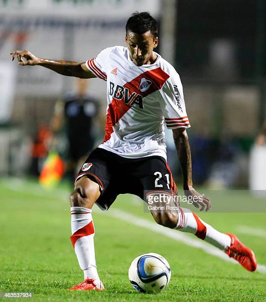 Leonel Vangioni of River Plate kicks the ball during a match between Sarmiento and River Plate as part of first round of Torneo Primera Division 2015...