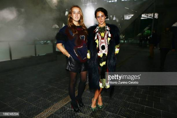 Leonetta Fendi and Delfina Delettrez Fendi attend Kenzo fashion show as part of Pitti Immagine Uomo 83 at Mercato Centrale on January 10 2013 in...
