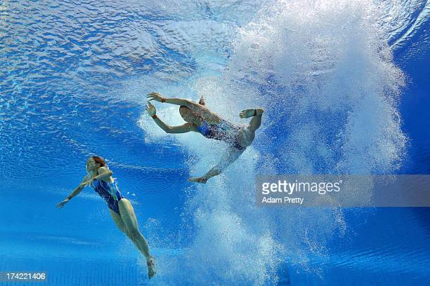 Leong Mun Yee and Pandelela Rinong Pamg of Malaysia compete in the Women's 10m Platform Synchronised Diving preliminary round on day three of the...