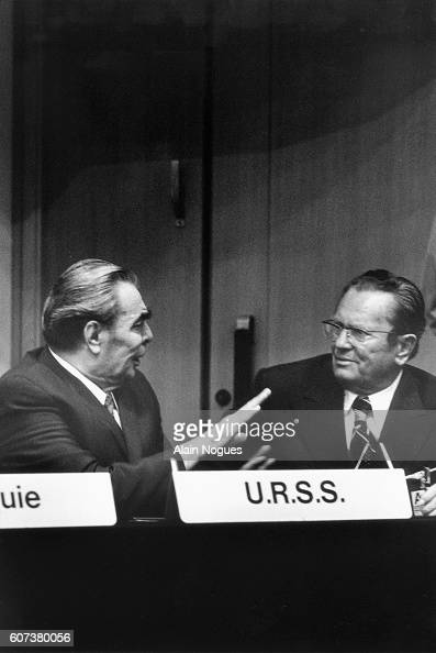 Leonid Brezhnev Premier of the USSR and Josip Tito Premier of Yugoslavia debate during the CSCE conference on security and cooperation's signature of...
