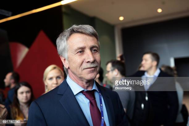 Leonid Mikhelson billionaire and chairman of Novatek OJSC arrives for the plenary session during the St Petersburg International Economic Forum at...