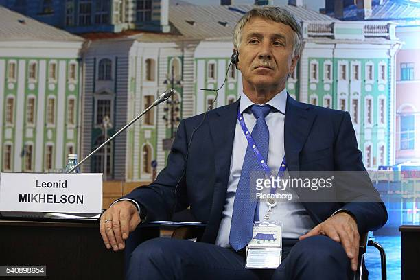 Leonid Mikhelson billionaire and chairman of OAO Novatek looks ahead during a panel session on the opening day of the St Petersburg International...