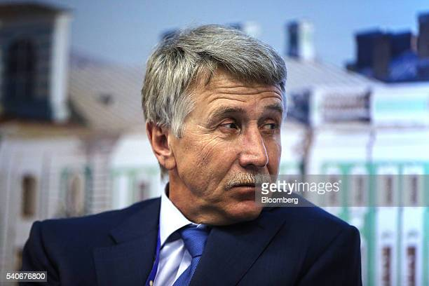 Leonid Mikhelson billionaire and chairman of OAO Novatek looks on during a panel session on the opening day of the St Petersburg International...
