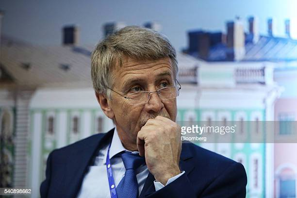 Leonid Mikhelson billionaire and chairman of OAO Novatek pauses during a panel session on the opening day of the St Petersburg International Economic...