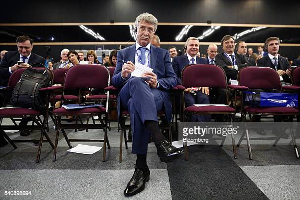 Leonid Mikhelson billionaire and chairman of OAO Novatek waits in the audience during a panel session on day two of the St Petersburg International...