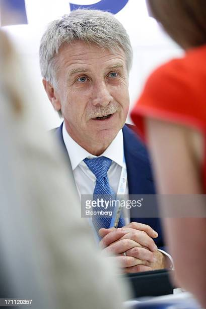 Leonid Mikhelson billionaire and chief executive officer of OAO Novatek speaks during a break between sessions on day two of the St Petersburg...