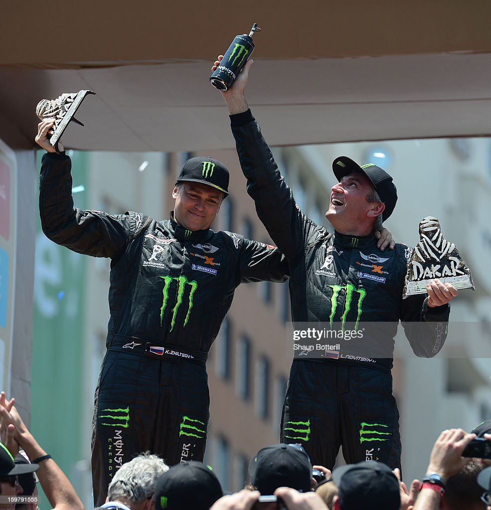Leonid Novitskiy and co-driver Konstantin Zhiltsov, 3rd place in Autos, of team Mini celebrate during the podium presentations at the end of the 2013 Dakar Rally on January 20, 2013 in Santiago, Chile.