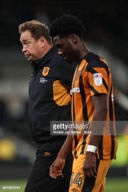Leonid Slutsky head coach / manager of Hull City dejected at full time during the Sky Bet Championship match between Derby County and Hull City at...