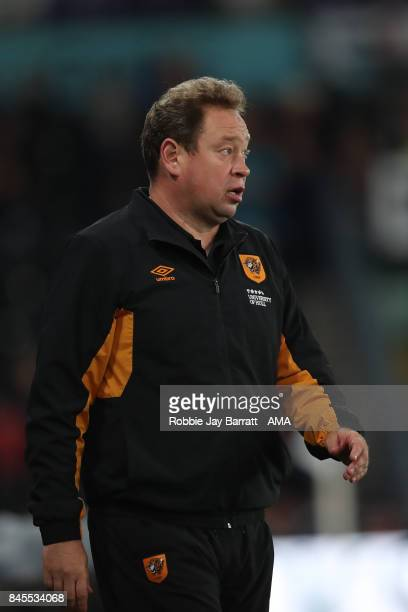 Leonid Slutsky head coach / manager of Hull City during the Sky Bet Championship match between Derby County and Hull City at iPro Stadium on...