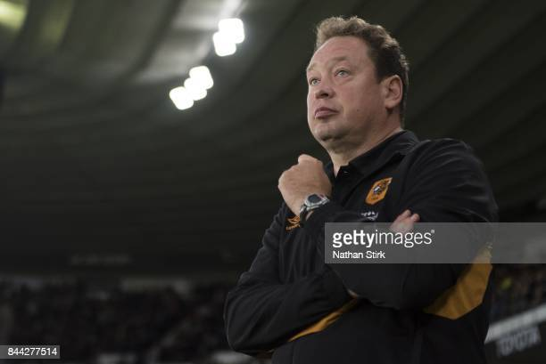 Leonid Slutsky manager of Hull City looks on during the Sky Bet Championship match between Derby County and Hull City at iPro Stadium on September 8...