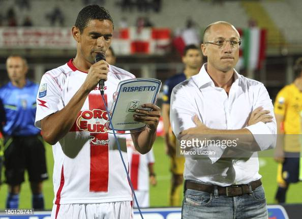 Leonidas Neto Pereia captain of AS Varese reads the player's oath before the Serie B match before AS Varese and Modena FC at Stadio Franco Ossola on...