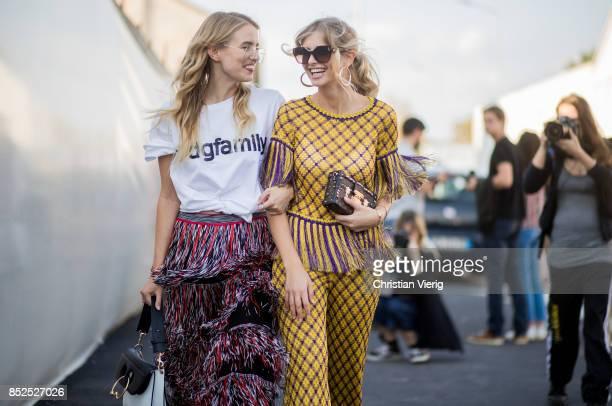 Leonie Hanne and Xenia van der Woodsen is seen outside Missoni during Milan Fashion Week Spring/Summer 2018 on September 23 2017 in Milan Italy