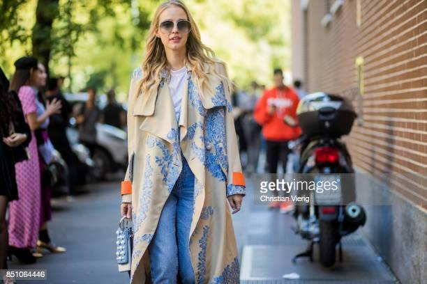Leonie Hanne is seen outside Fendi during Milan Fashion Week Spring/Summer 2018 on September 21 2017 in Milan Italy