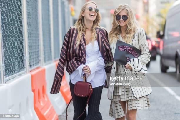 Leonie Hanne wearing stripped jacket flared pants Chloe bag Dior sling backs and Xenia van der Woodsen seen in the streets of Manhattan outside...