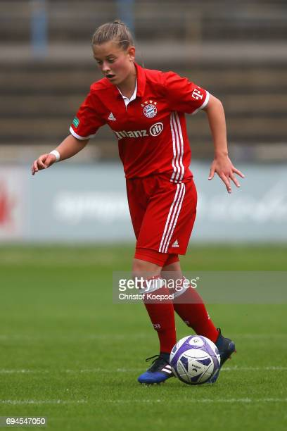Leonie Koester of Bayern runs with the ball during the B Junior Girl's German Championship Semi Final match between SV Meppen and Bayern Muenchen at...