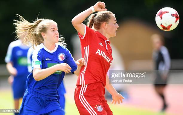 Leonie Koester of FC Bayern Muenchen challenges Marie Hoebinger of 1 FFC Turbine Potsdam during the B Junior Girl's German Championship Final between...