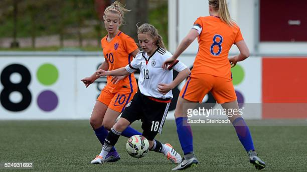 Leonie Koester of Germany battles for the ball during the U17 Girl's international friendly match between Netherlands and Germany on April 27 2016 in...