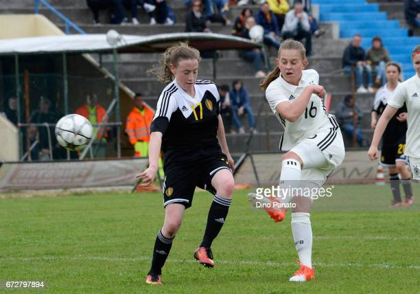 Leonie Koester of Germany women's U16 competes with Noa Delhaye of Belgium women's U16 during the 2nd Female Tournament 'Delle Nazioni' match between...