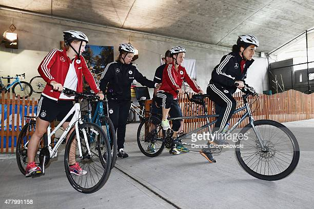 Leonie Maier and Celia Sasic of Germany prepare to take a bike ride on June 21 2015 in Ottawa Canada