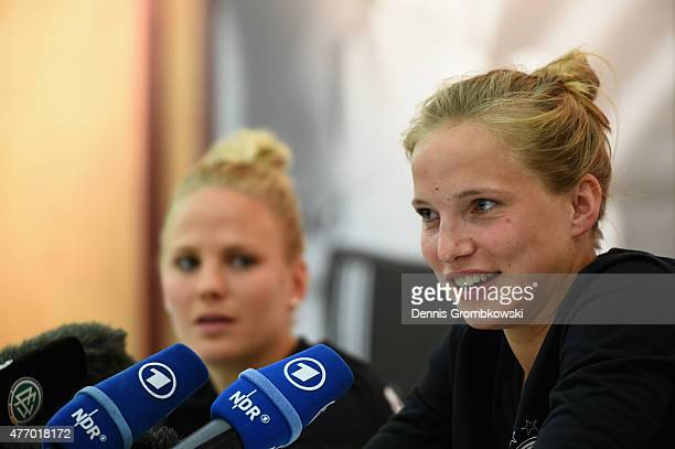 Leonie Maier and Tabea Kemme of Germany attend a press conference at the RBC Convention Centre on June 13 2015 in Winnipeg Canada