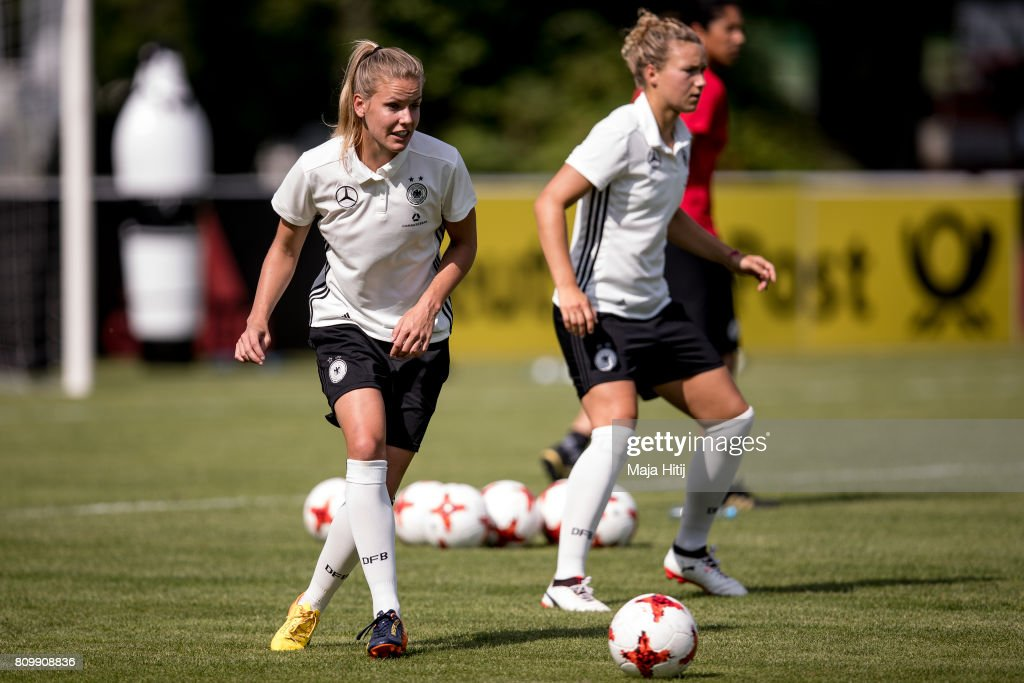Leonie Maier controls the ball during the training session on July 6, 2017 in Heidelberg, Germany.
