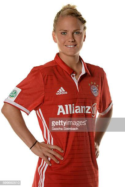 Leonie Maier of FC Bayern Muenchen poses during the Allianz Women's Bundesliga Club Tour on September 4 2016 in Aschheim Germany