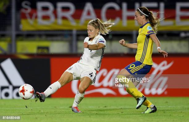 Leonie Maier of Germany and Kosovare Asllani of Sweden compete for the ball during the Group B match between Germany and Sweden during the UEFA...