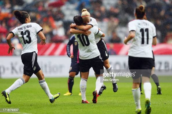 Leonie Maier of Germany celebrates her team's first goal with team mates Celia Okoyino da Mbabi Dzsenifer Marozsan and Anja Mittag during the Women's...
